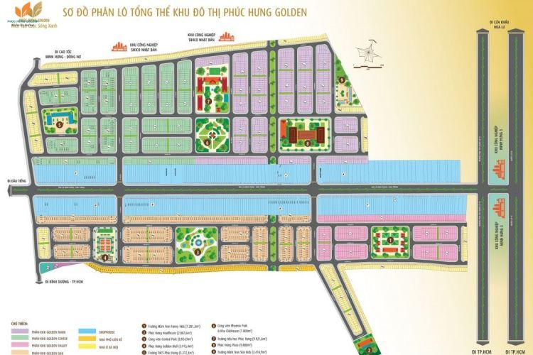 Sơ đồ phân lô tổng thể khu đô thị Phúc Hưng Golden