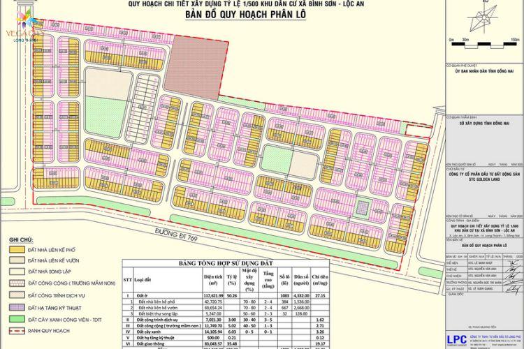 Sơ đồ quy hoạch phân lô dự án khu đô thị Vega City Long Thành