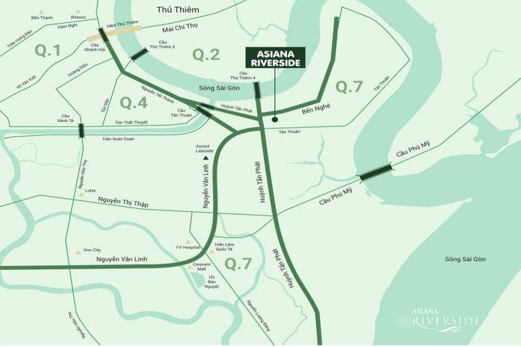 """Vị trí """"ĐẮC ĐỊA"""" dự án căn hộ Asiana Riverside Quận 7"""