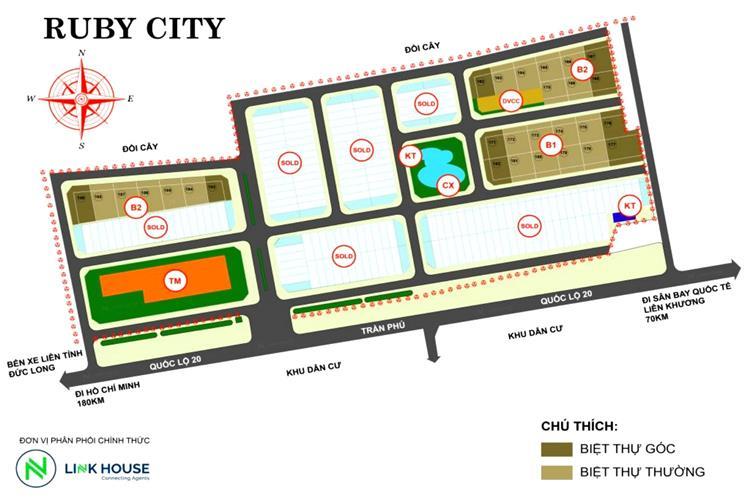 Mặt bằng dự án Ruby City Bảo Lộc