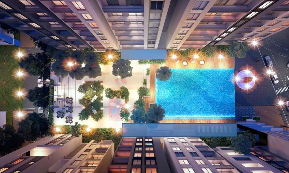 Hồ bơi nhìn từ trên cao dự ánHà Đô Centrosa Garden