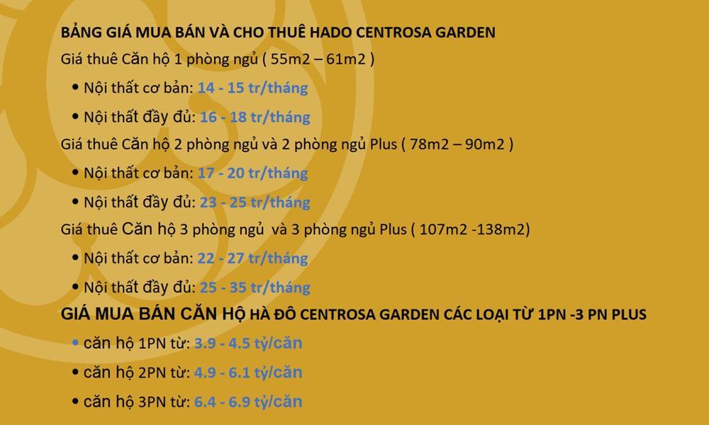 Bảng giá dự án Hà Đô Centrosa Garden