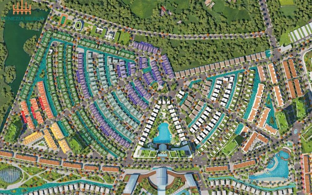 Mặt bằng phân chia các phân khu trong dự ánVenezia Beach Village