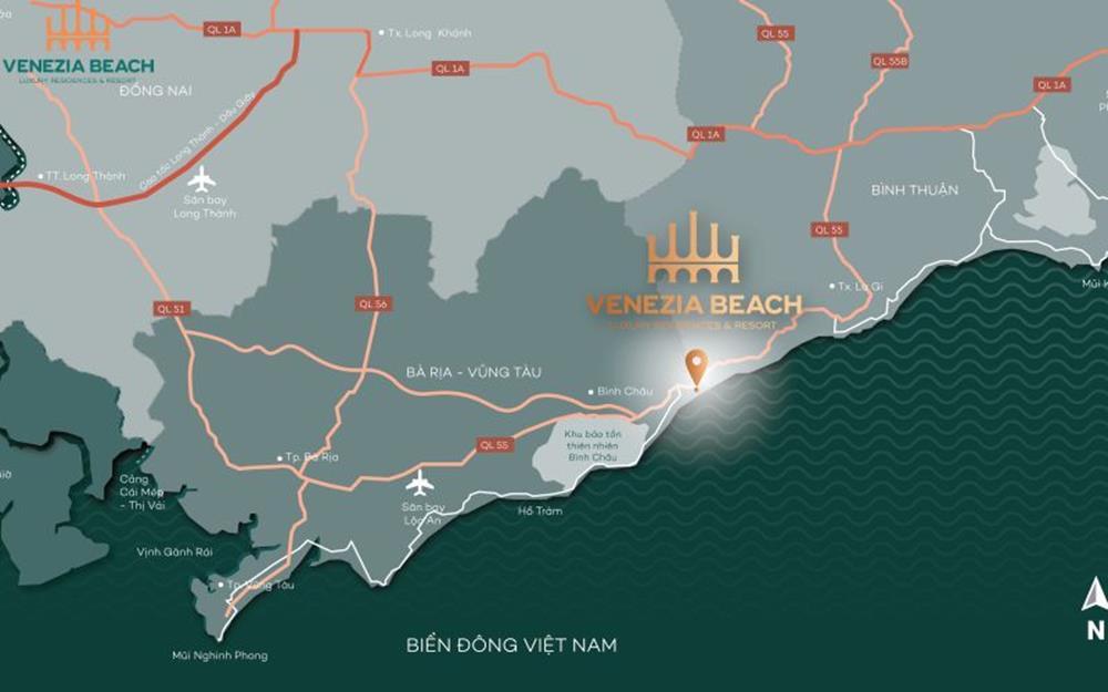 """Vị trí """"Vàng"""" dự án Venezia Beach Bình Thuận"""