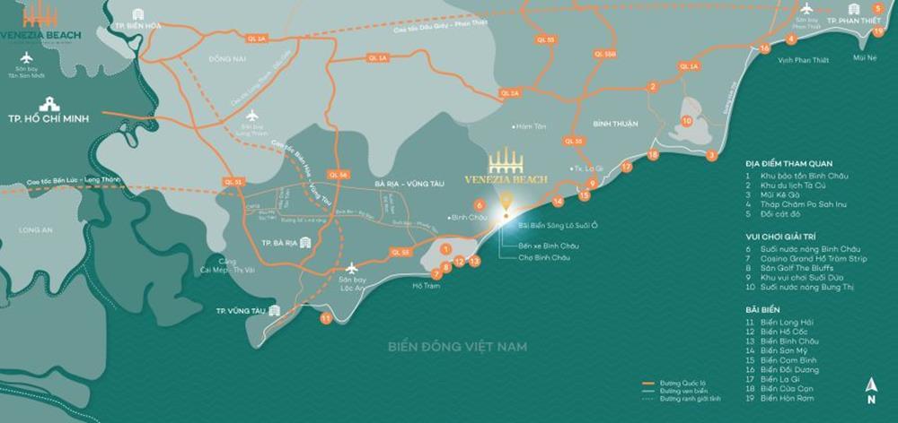 Bản đồ chi tiết những tiện ích xung quanh dự ánVenezia Beach Village